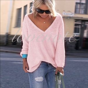 LAST Casual V Neck Relaxed Fit Long Sleeve Sweater